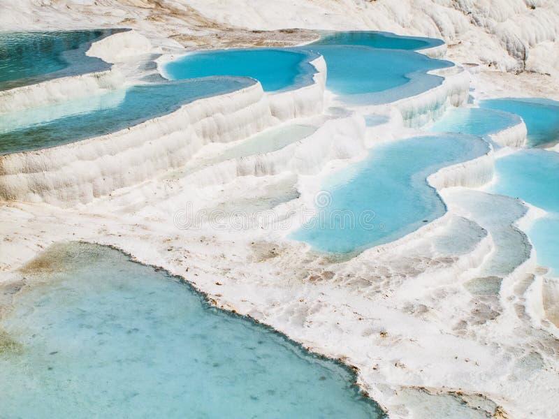 Piscines d'eau bleue de Pamukkale photo libre de droits
