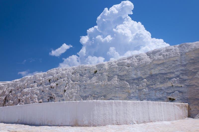 Piscines et terrasses naturelles de travertin chez Pamukkale, Turke images stock