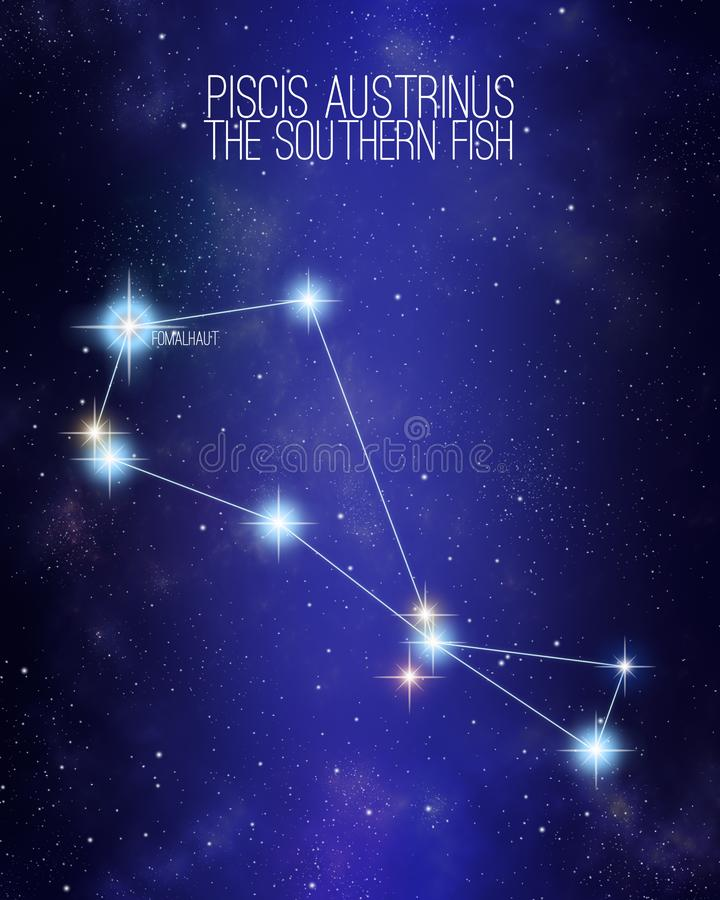 Piscis Austrinus a constelação do sul dos peixes em um fundo estrelado do espaço com os nomes de suas estrelas principais Tamanho ilustração do vetor