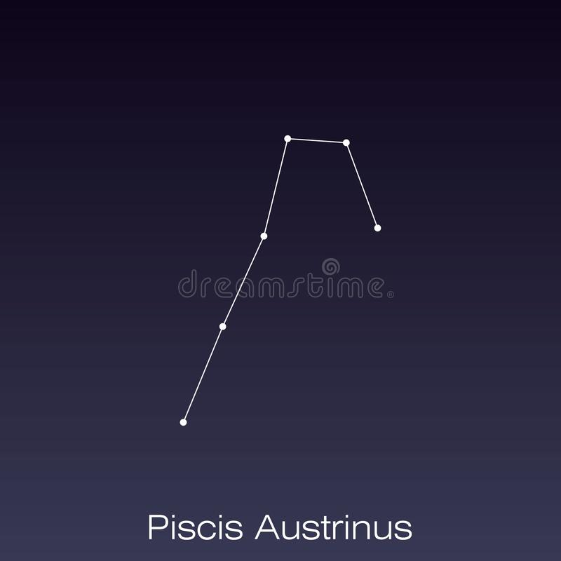 Constellation as it can be seen by the naked eye. Piscis Austrinus constellation as it can be seen by the naked eye stock illustration