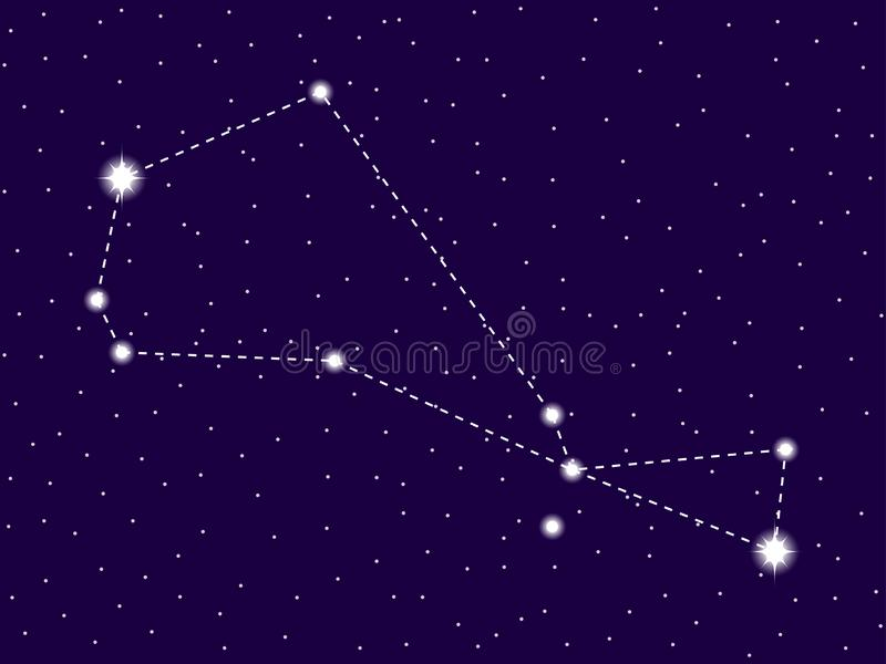 Piscis Austrinus constellation. Starry night sky. Zodiac sign. Cluster of stars and galaxies. Deep space. Vector. Illustration stock illustration