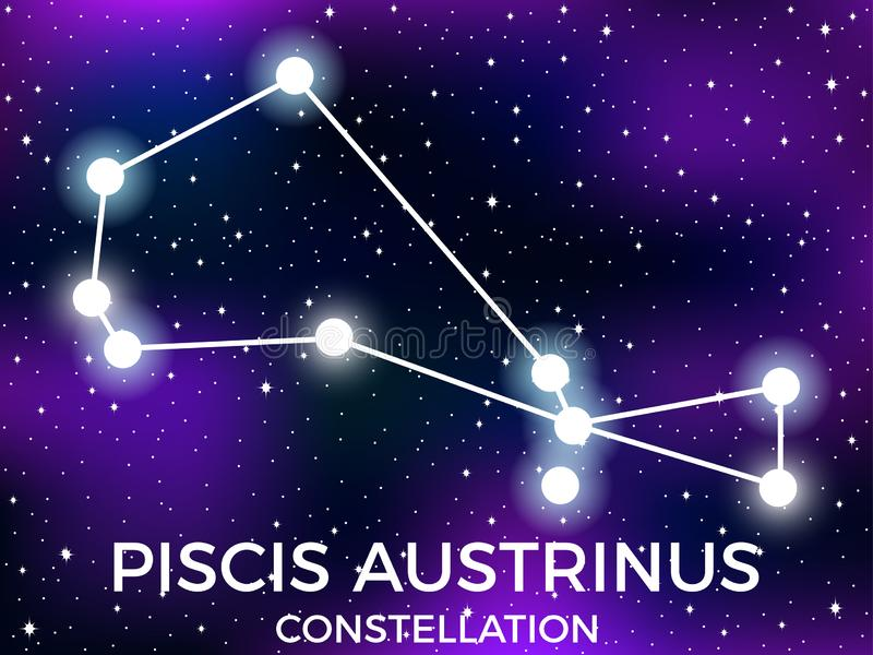 Piscis Austrinus constellation. Starry night sky. Zodiac sign. Cluster of stars and galaxies. Deep space. Vector. Illustration royalty free illustration