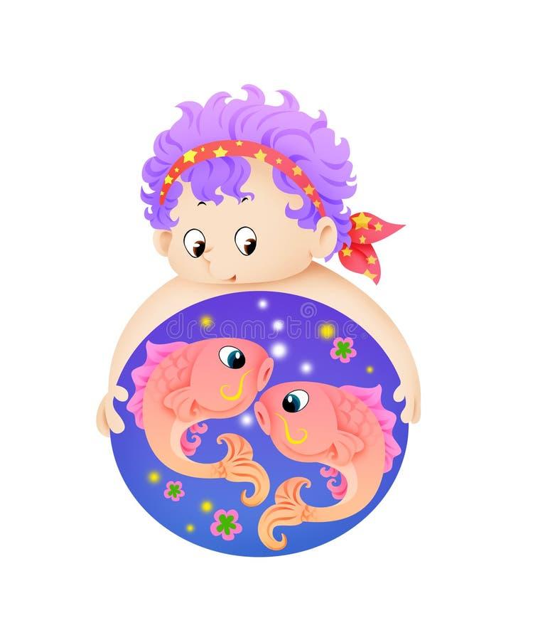 Piscis o zodiaco de los pescados doce ilustración del vector