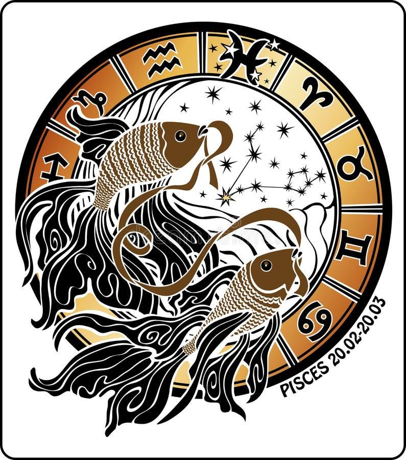 Piscis y la muestra del zodiaco. Círculo del horóscopo. Vector ilustración del vector