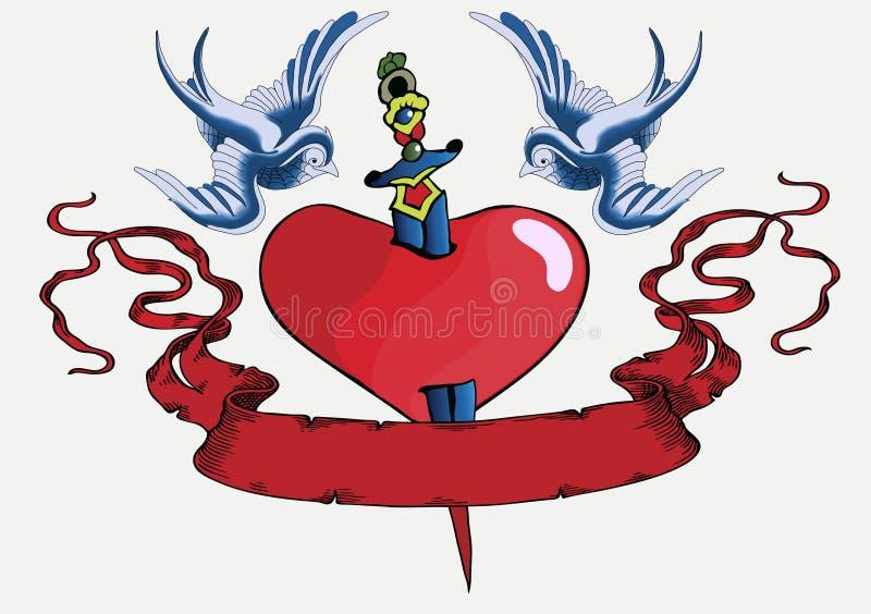 Pisco de peito vermelho 08 do tatuagem ilustração royalty free