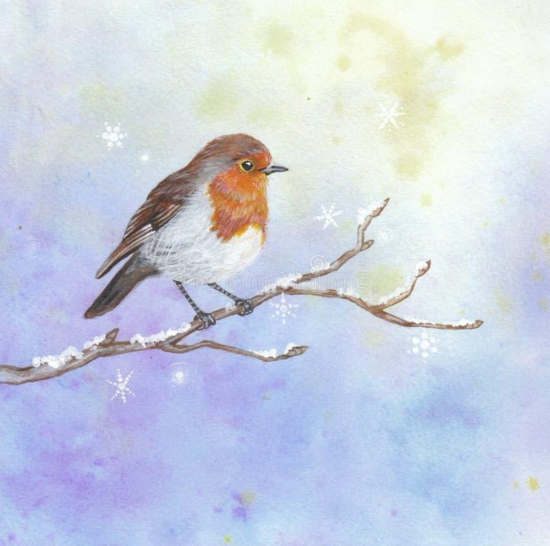 Pisco de peito vermelho do Natal ilustração stock