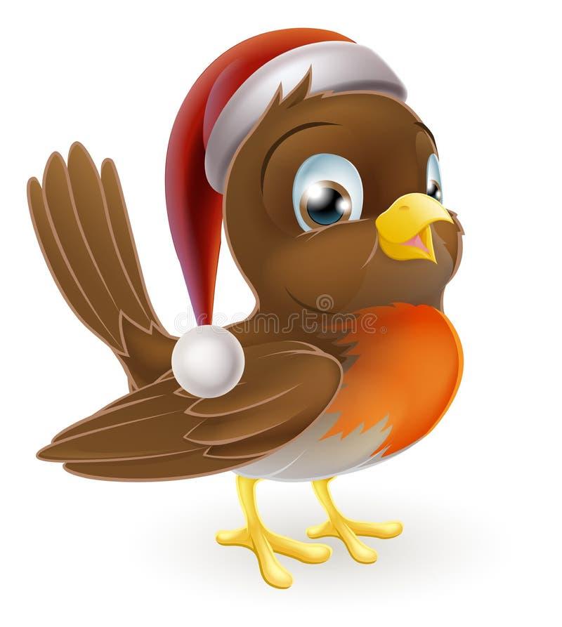 Pisco de peito vermelho dos desenhos animados do Natal ilustração do vetor
