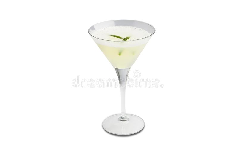 Pisco sour cocktail isolated on white background royalty free stock photography