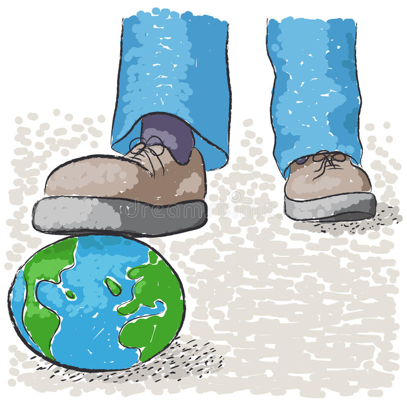 Pise o mundo ilustração do vetor