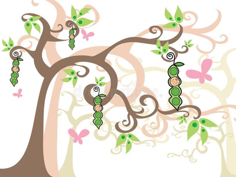 Piselli delle neonate in baccelli illustrazione di stock
