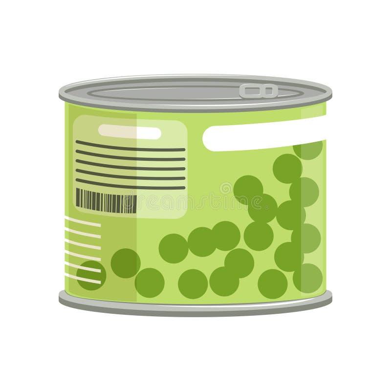 Piselli in latta metallica con l'etichetta e la anello-tirata Concetto di alimento inscatolato Elemento piano isolato di vettore  illustrazione vettoriale