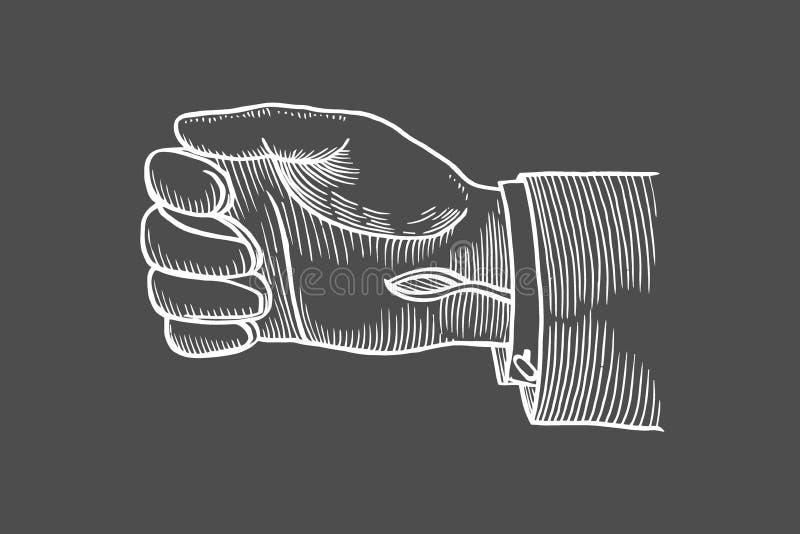Piska behandskat förestående vektor illustrationer