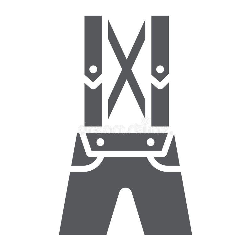 Piska symbolen för byxalederhosenskåran, kläder, och traditionella bavarian flåsanden undertecknar, vektordiagram, en fast modell vektor illustrationer
