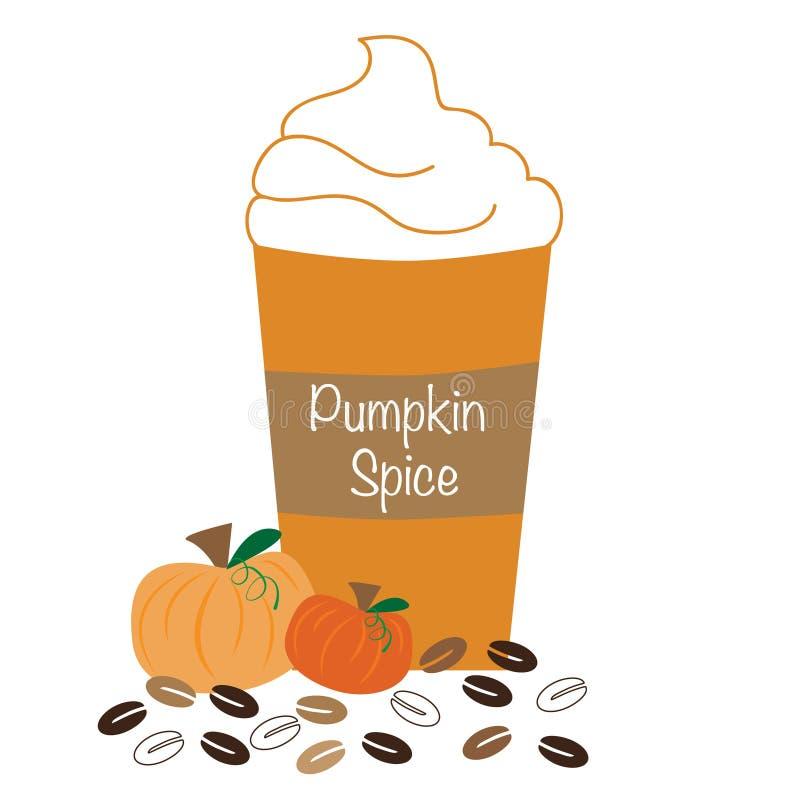 Piskat kaffe för pumpa krydda stock illustrationer