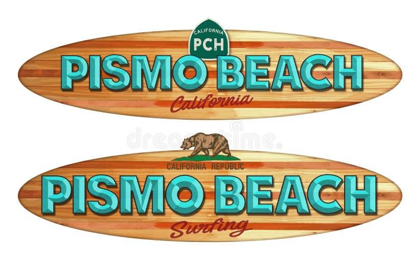 Pismo海滩加利福尼亚冲浪板标志 向量例证