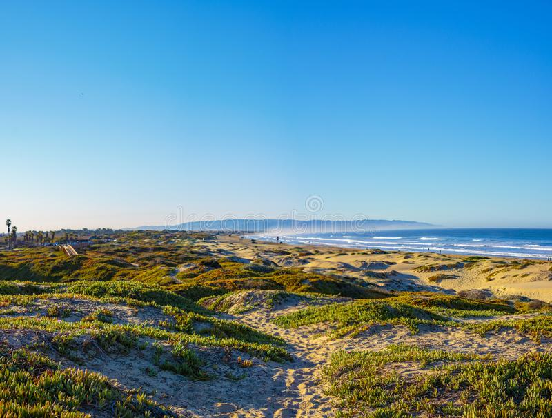 Pismo Beach State Park. Pismo Beach, California, February 15, 2018: View of sand dunes and Pacific Ocean from North Beach Campground royalty free stock image