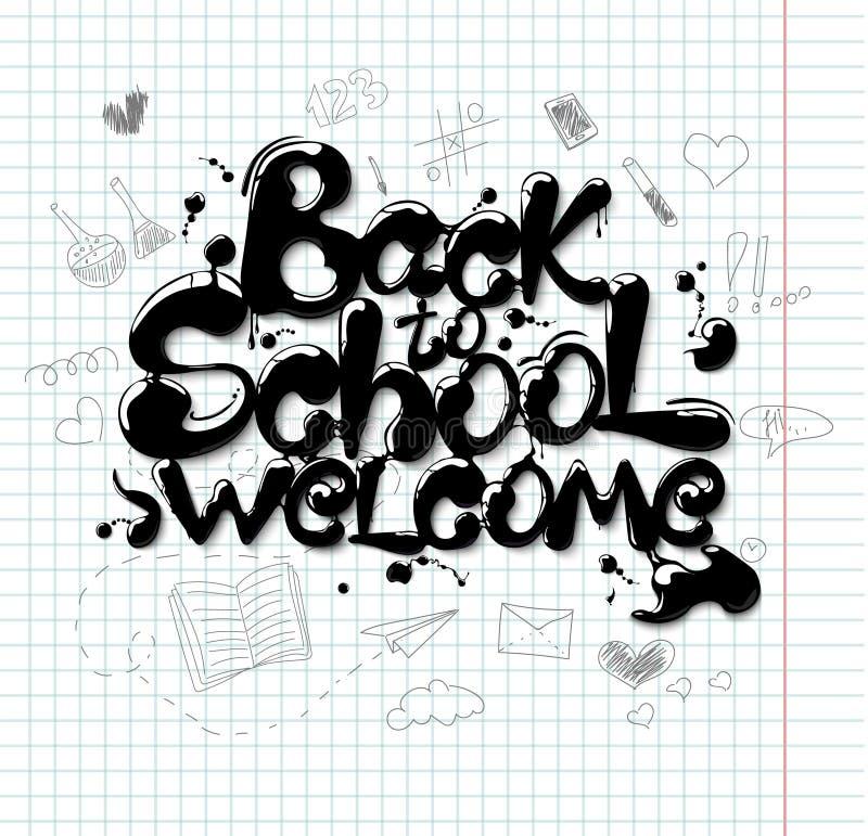 Pismo odręczne w formie litery Powrót do szkoły ilustracji