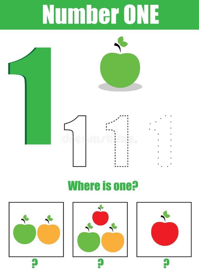 pismo praktyki Uczenie liczby i mathematics Liczba jeden… ilustracja wektor