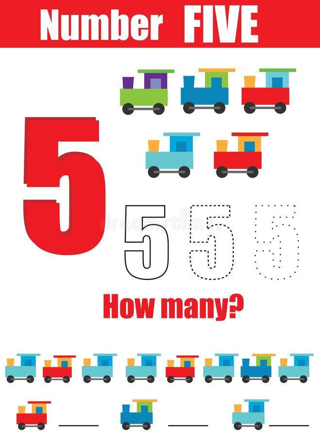 pismo praktyki Uczenie liczby i mathematics Liczba pięć Edukacyjna dziecko gra, printable worksheet dla dzieciaków ilustracji