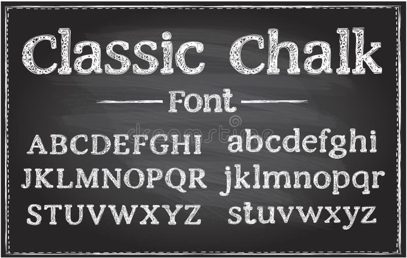 Pismo ręczne, klasyczny wektor kredowy, czcionka typograficzna na tablicy ilustracji