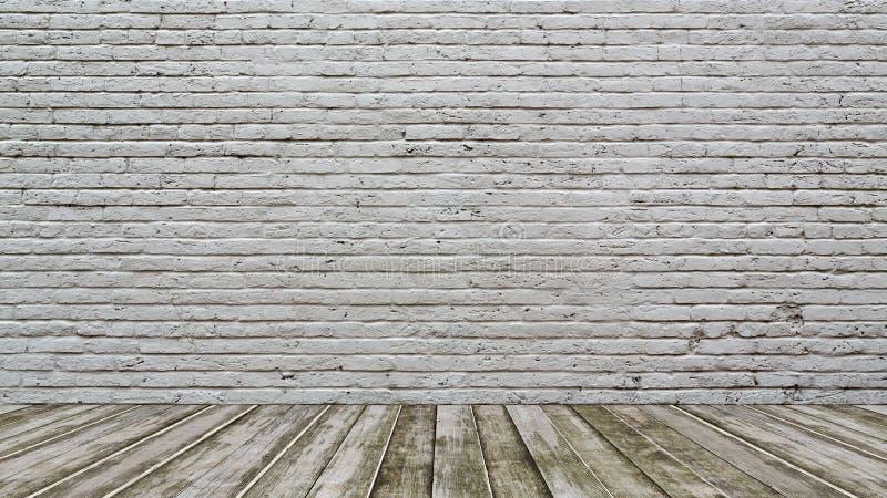 Piso blanco de la pared de ladrillo y de madera fotografía de archivo