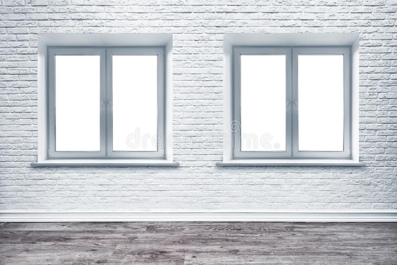 Piso blanco de la pared de ladrillo y de madera del tablón fotografía de archivo