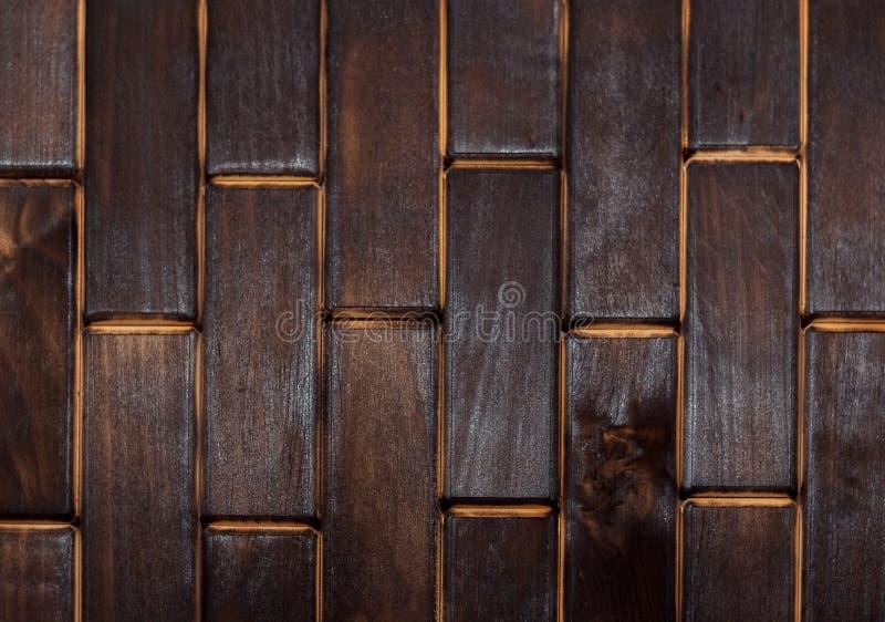Piso carbonizado de madera de pequeñas placas Visión desde arriba Piso como elemento del interior imagen de archivo libre de regalías