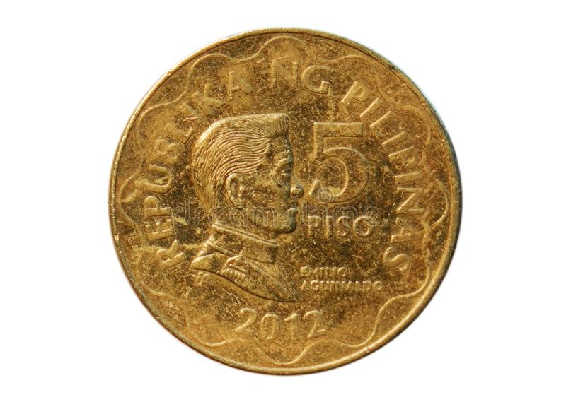 5 Piso coin, Bank of Philippines. Obverse, 2012. 5 Piso coin isolated on white, Bank of Philippines. Obverse, 2012 royalty free stock photo