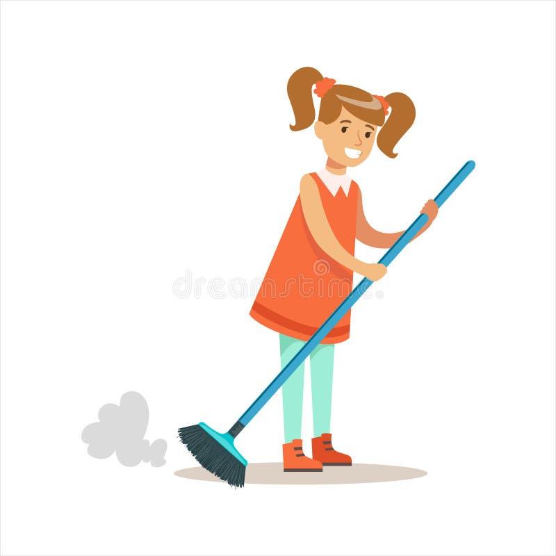 Piso de Grl Cleanning del carácter sonriente del niño de la historieta del polvo que ayuda con economía doméstica y que hace limp ilustración del vector