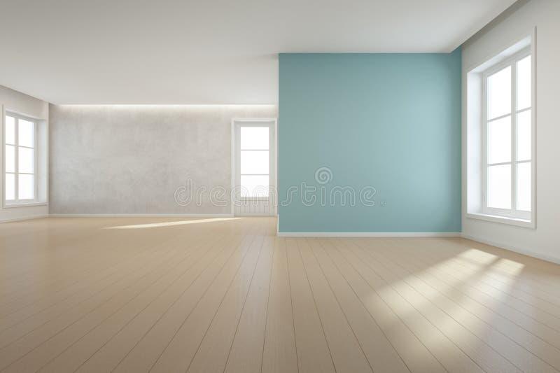 Piso de madera con el fondo azul del muro de cemento en sitio grande en la nueva casa moderna para la familia grande, la ventana  ilustración del vector