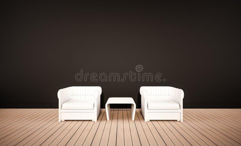 Piso de madera de roble y pared negra, con las butacas blancas, 3d rendido libre illustration