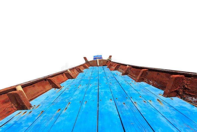 Piso de madera en el barco tailandés tradicional aislado en blanco fotografía de archivo libre de regalías