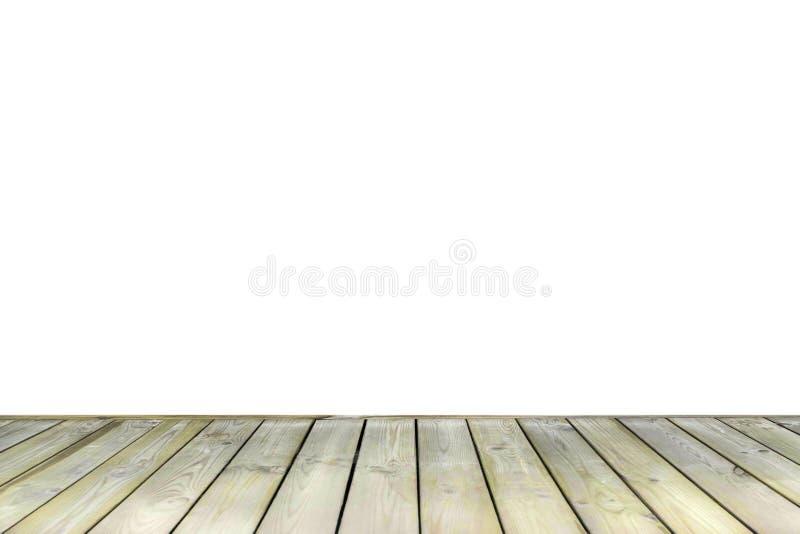 Piso de madera exterior viejo del decking aislado en el fondo blanco fotos de archivo libres de regalías