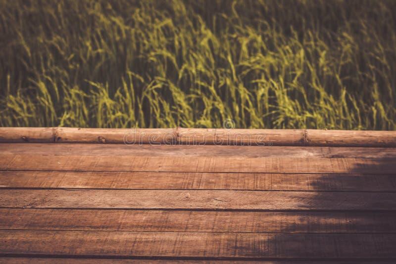 Piso de madera de los tablones con el fondo del día de fiesta del ambiente del verde del campo del arroz del paisaje de la montañ foto de archivo libre de regalías