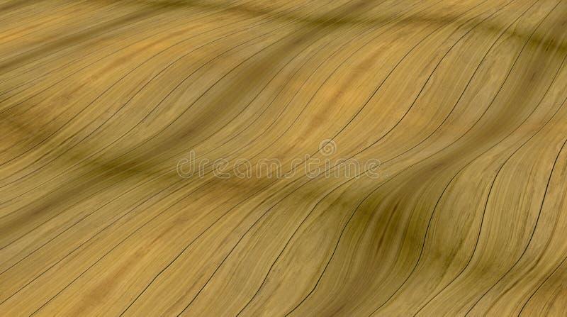 Piso de madera ondulado, fondo amarillo imagenes de archivo