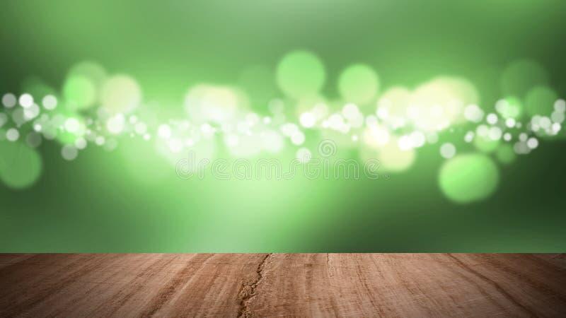 Piso de madera y fondo verde del bokeh fotografía de archivo