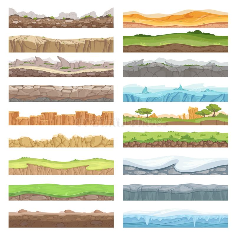 Piso del juego Tierra de la textura del activo diversa de piedras hiela el fondo inconsútil del vector del paisaje de la suciedad libre illustration