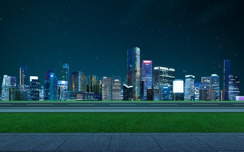 Piso vacío con horizonte moderno de la ciudad imagenes de archivo