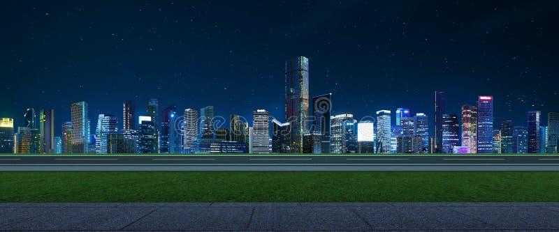 Piso vacío con horizonte moderno de la ciudad imagen de archivo libre de regalías