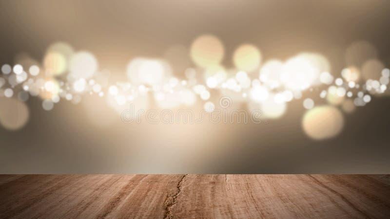 Piso y fondo de madera del oro del bokeh fotos de archivo