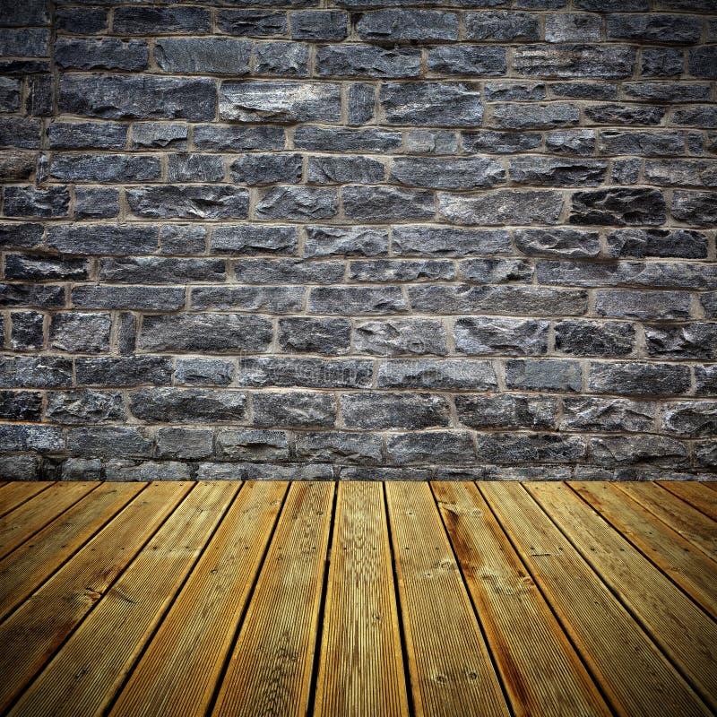 Piso y pared de ladrillo de madera de la cubierta imagen de archivo