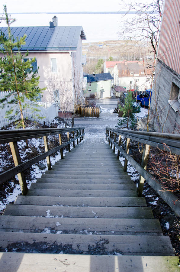 Pispala stairs in tampere Finland. Pispala stairs Tampere Finland- neighbourhood stock images