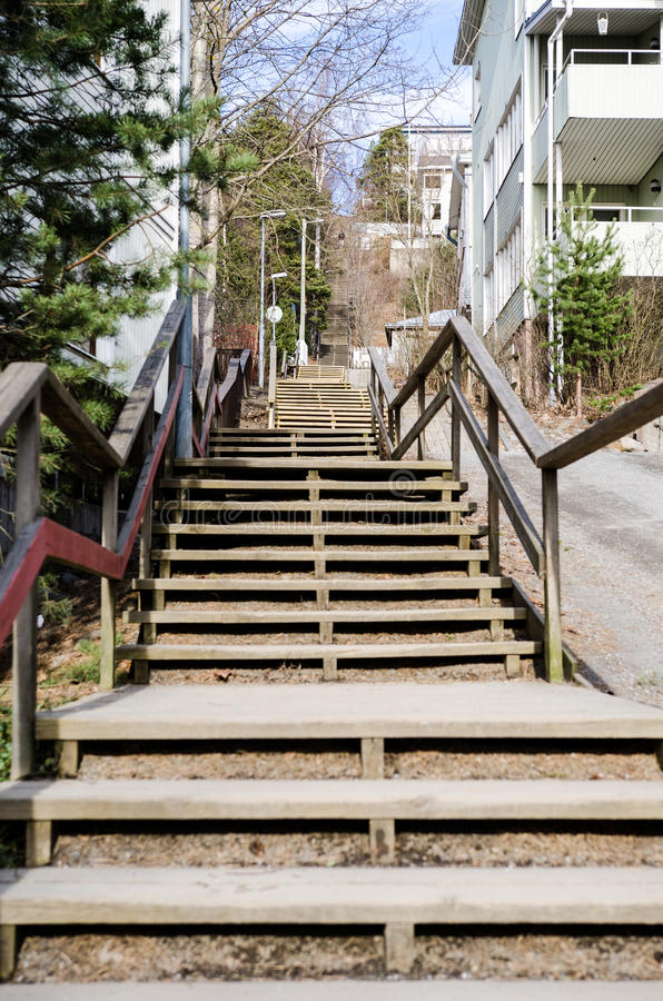 Pispala stairs in Tampere Finland. Pispala stairs Tampere Finland- neighbourhood with houses royalty free stock images