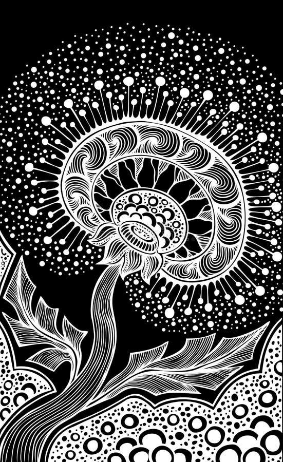 Pissenlit décoratif de dessin de main dans le blanc de style de griffonnage de zen d'embrouillement de zen sur le noir fait par l illustration de vecteur