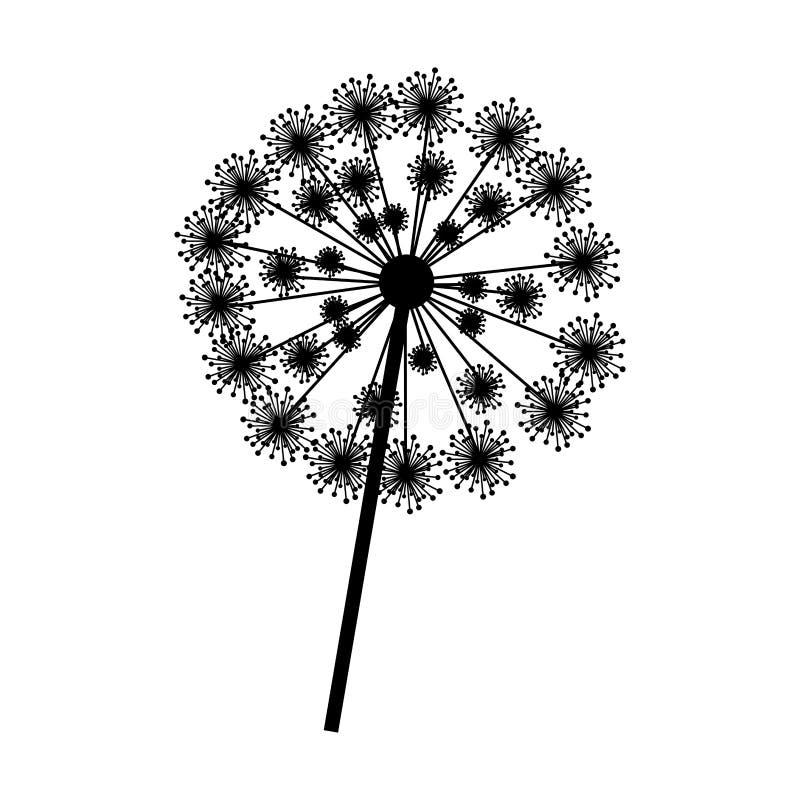 pissenlit de silhouette avec le plan rapproché de tige et de pistil illustration libre de droits