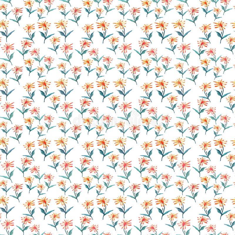 Pissenlits jaune-orange de beau textile de fines herbes coloré sophistiqué lumineux sensible tendre de ressort illustration de vecteur