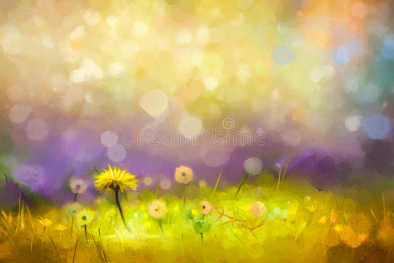 Pissenlits jaunes de fleurs d'herbe de nature de peinture à l'huile illustration de vecteur