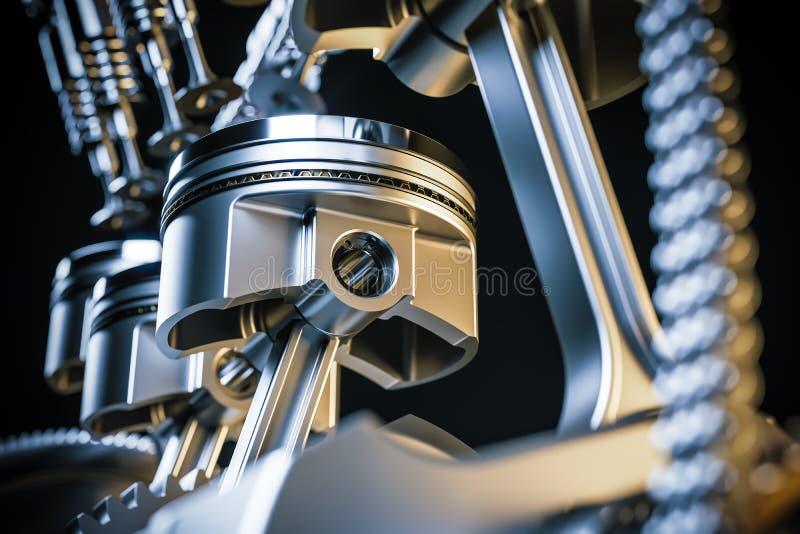 Pistões do motor mecanismo do eixo de manivela 3d rendem ilustração do vetor
