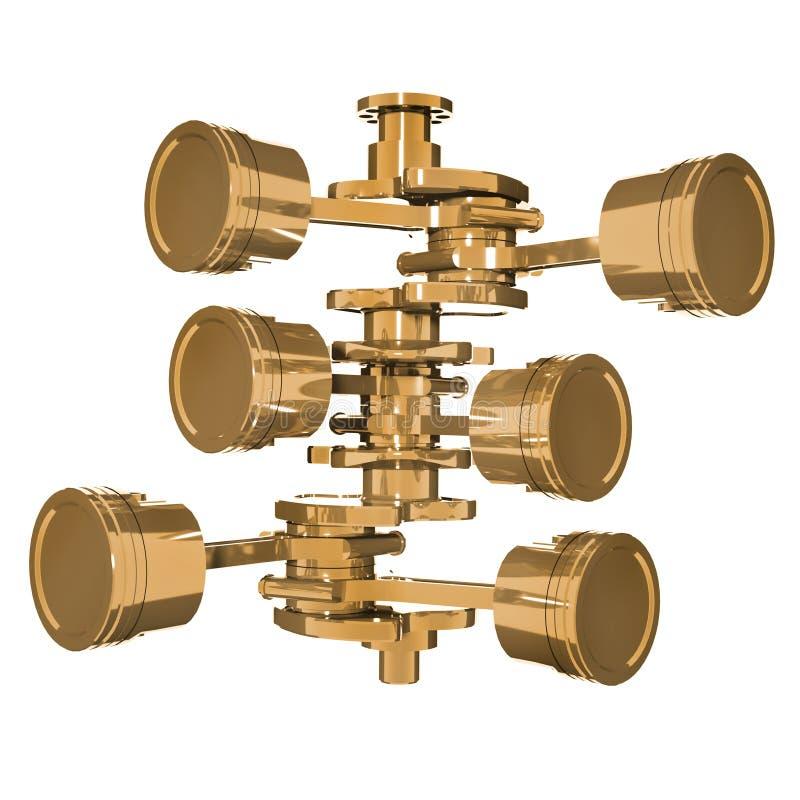 Pistões dourados e eixo de manivela isolados no fundo branco 3d rendem ilustração stock