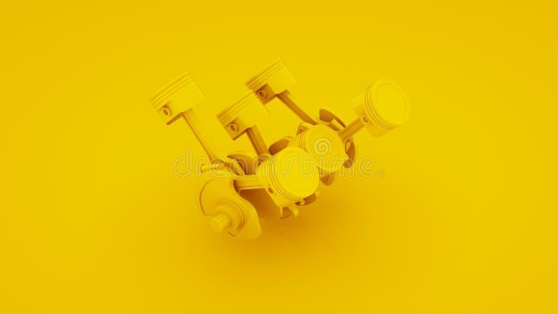 Pistões e eixo de manivela do motor no fundo amarelo ilustração 3D fotos de stock